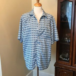 OP patterned button down tee